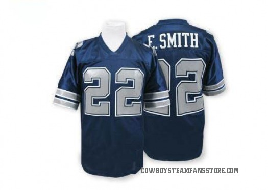 Mitchell and Ness Emmitt Smith Dallas Cowboys Authentic Navy Blue Mitchell And Ness Throwback Jersey - Men's