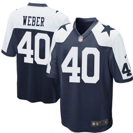 Nike Mike Weber Dallas Cowboys Game Navy Blue Throwback Jersey - Youth