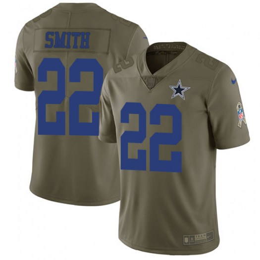 Nike Emmitt Smith Dallas Cowboys Limited Olive 2017 Salute to Service Jersey - Men's